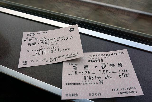 これで新宿・秦野間の往復とエリア内のバス、ロープウェイが無料